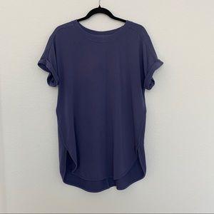 Cupio Blue Crewneck Roll Up Sleeve Tee T-Shirt Tunic w Side Slit Size L